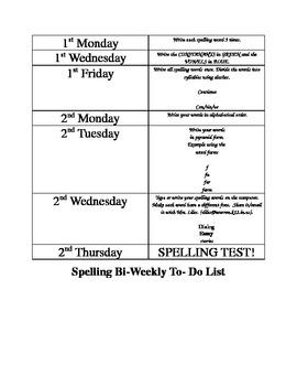 Bi-Weekly Independent Spelling Activity List