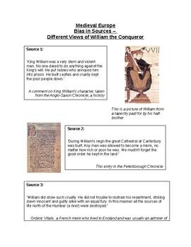 Bias in Sources - Different Views of William the Conqueror