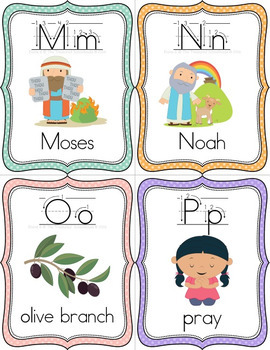 Bible ABC Alphabet Flashcards with Arrows