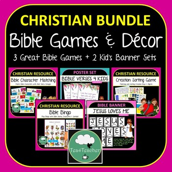 Bible Activities and Decor BUNDLE Bible Bingo Character Matching Decor  Banners