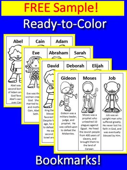 Bible Bookmarks Color AND Black and White from Famous Bible People Free Sample!