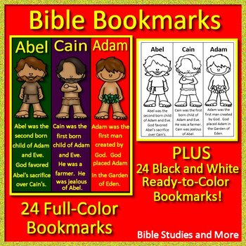 Bible Bookmarks - Color AND Black and White from Famous People of the Bible