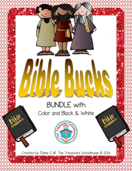 Bible Bucks BUNDLE with Color and Black & White - Religious Incentive