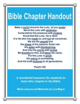 Bible Chapter Handout of Psalm 100.  No Prep!