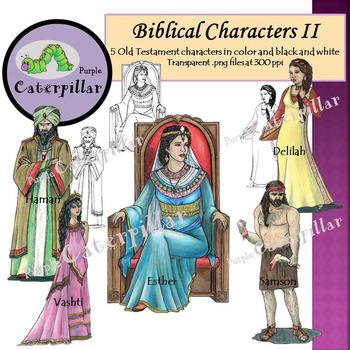 Bible Character Clip Art:  Samson, Delilah, Esther, Haman
