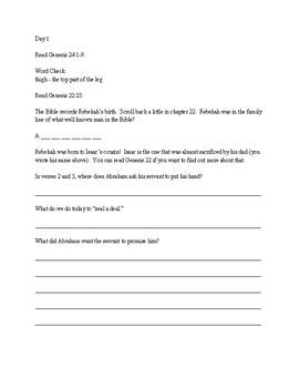 Bible Study for preteens - Rebekah