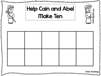 Bible Character themed Blank 10 Frame printable worksheets. Preschool Bible