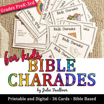 Bible Charades for Kids -36 Easy Prep Cards, Fun Games for ...