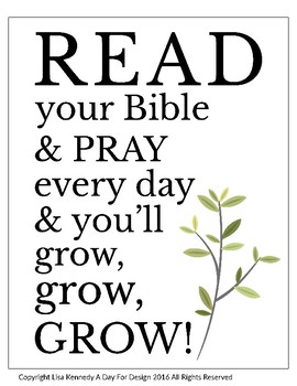 """Bible Class Poster with """"Read Your Bible & Pray Everyday"""""""