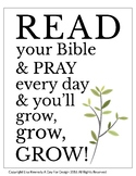 "Bible Class Poster with ""Read Your Bible & Pray Everyday"""