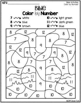 Bible Color by Number Worksheets for Sunday School or ...