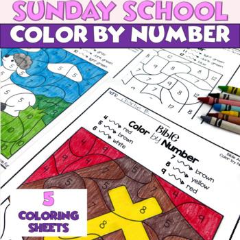 bible color by number worksheets for sunday school or. Black Bedroom Furniture Sets. Home Design Ideas