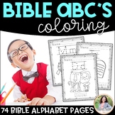 Bible Coloring Book {74 ABC Bible Pictures with Handwriting Practice}