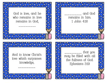 Bible Concentration Game:  God's Love for Upper Elementary