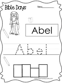 Bible Days Abel Read, Trace, and Write Worksheet. Preschool-Kindergarten Bible