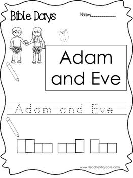Bible Days Adam and Eve Read, Trace, and Write Worksheet. Preschool-Kindergarten