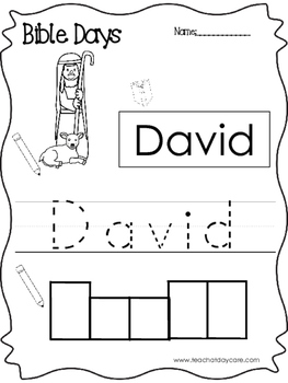 Bible Days David Read, Trace, and Write Worksheet. Prescho