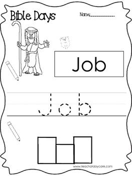 Bible Days Job Read, Trace, and Write Worksheet. Preschool-Kindergarten