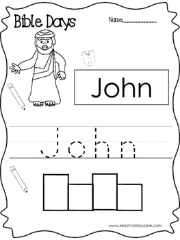 Bible Days John Read, Trace, and Write Worksheet. Preschool-Kindergarten