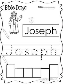 Bible Days Joseph Read, Trace, and Write Worksheet. Preschool-Kindergarten