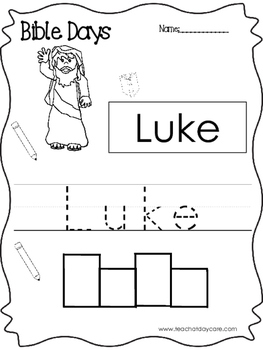 Bible Days Luke Read, Trace, and Write Worksheet. Preschool-Kindergarten