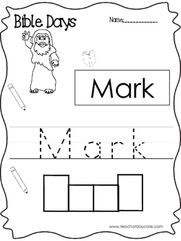 Bible Days Mark Read, Trace, and Write Worksheet. Preschool-Kindergarten