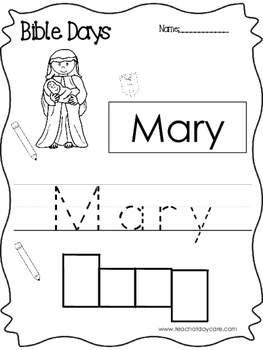 Bible Days Mary Read, Trace, and Write Worksheet. Preschool-Kindergarten