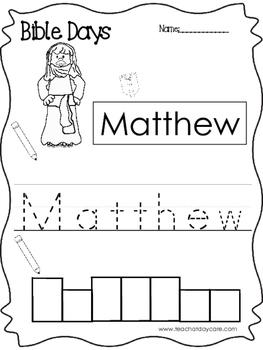 Bible Days Matthew Read, Trace, and Write Worksheet. Preschool-Kindergarten