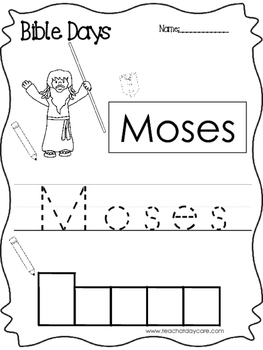Bible Days Moses Read, Trace, and Write Worksheet. Preschool-Kindergarten