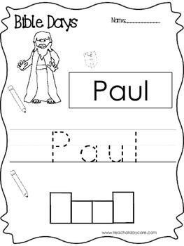Bible Days Paul Read, Trace, and Write Worksheet. Preschool-Kindergarten
