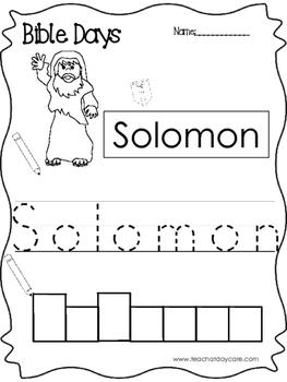 Bible Days Solomon Read, Trace, and Write Worksheet. Preschool-Kindergarten