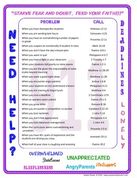Bible Emergency Numbers for Teachers