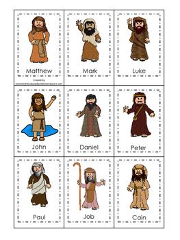 Bible Friends Memory Match Printable Christian Game. Preschool-Kindergarten.