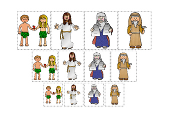 Bible Friends Size Sorting Printable Christian Game. Preschool-Kindergarten.