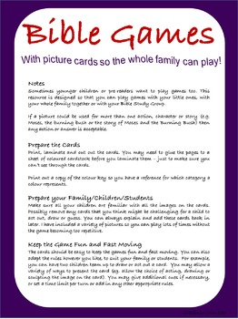 Bible Games with Picture Cards For Bible Groups, Classrooms and Families