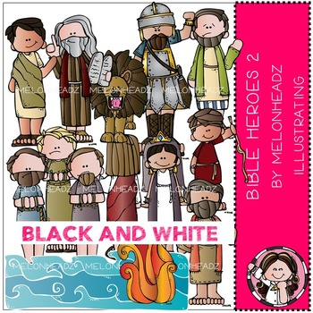 Bible Heroes clip art Part 2 - Bible - BLACK AND WHITE- by Melonheadz