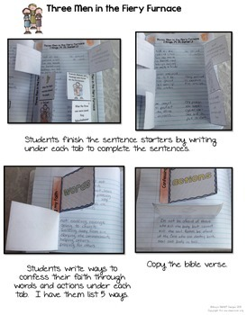 Bible Interactive Notebook: Old Testament Add-On Three Men in the Furnace