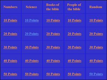 Bible Jeopardy Games for Home School Sunday School or Home