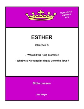 Bible Lesson -  Esther (Chapter 3) (NKJV) w/TAK - No Prep/ Print and Go