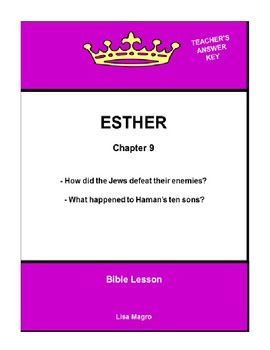 Bible Lesson -  Esther (Chapter 9) (NKJV) w/TAK - No Prep/ Print and Go