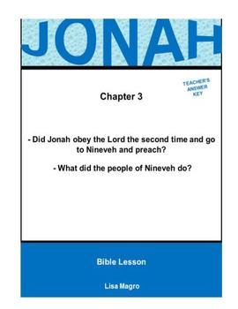 Bible Lesson -  Jonah (Chapter 3) (NKJV) w/TAK - No Prep/ Print and Go