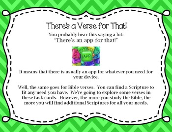 "Bible Task Cards - ""There's a Verse for That!"""