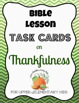 Bible Task Cards on Thankfulness