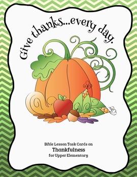Bible Task Cards on Thankfulness