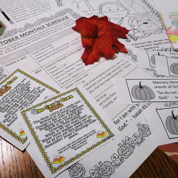 Halloween Bible NO PREP Lessons for October -Stories, Coloring, & Craftivity