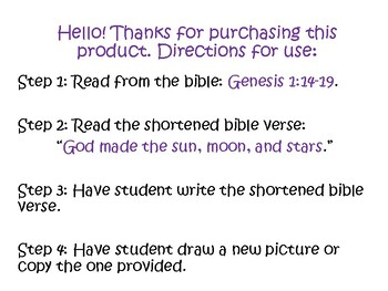 Bible Lessons for Kids Religious God Made the Sun, Moon, and Stars Sunday School