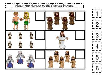 Bible Match the Number Printable Christian Game Download. Preschool-Kindergarten