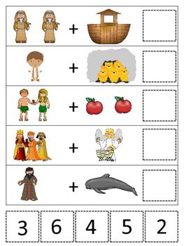 Bible Math Addition Printable Christian Game Download. Preschool-Kindergarten.
