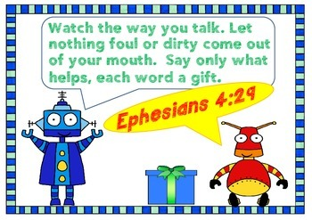 Bible Memory Verse - Ephesians 4:29 Activities and Poster