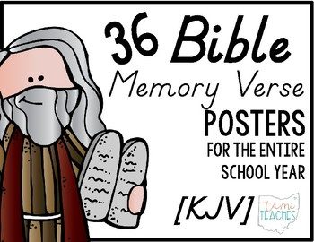 Bible Memory Verse Posters [for the entire school year!] KJV D'nealian edition